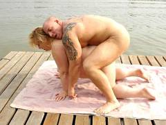 Blonde Mature Fatty Takes a Dick