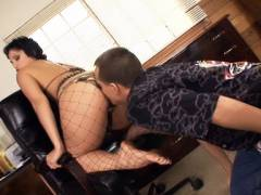 Stocking MILF Tugging a Big Cock