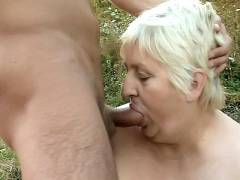Older Blonde Guzzles Pecker