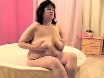 Mature Fatty Fondles Her Tits