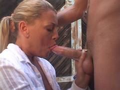 Pretty MILF Sucking a Dick Outdoors