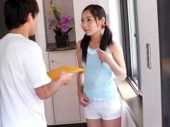 Home alone Lulu Kinouchi is pokeed big time